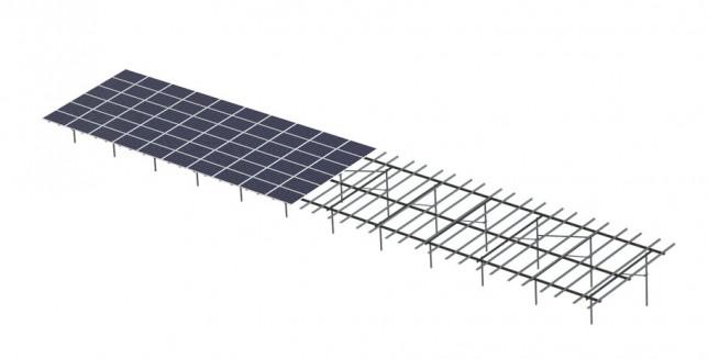 duel-pole solar panel structure